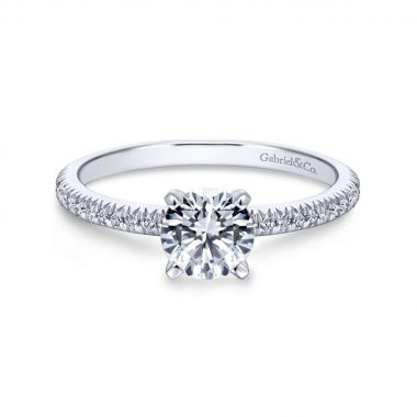 Gabriel & Co. 14k White Gold Contemporary Straight Diamond Engagement Ring