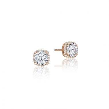 Tacori 18k Rose Gold Tacori Diamond Jewelry Stud Earrings