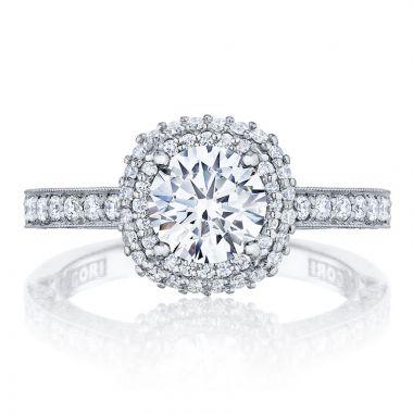 Tacori 18k White Gold Blooming Beauties Double Halo Diamond Engagement Ring