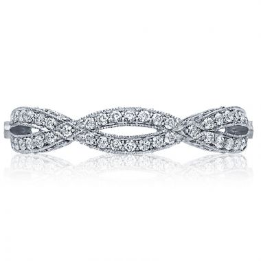 Tacori Platinum Ribbon Criss Cross Diamond Women's Wedding Band