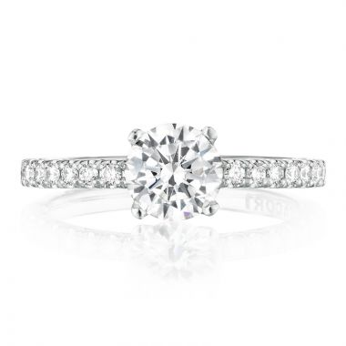 Tacori 18k White Gold Petite Crescent Straight Diamond Engagement Ring