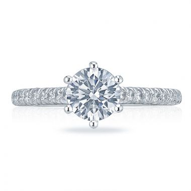Tacori Platinum Petite Crescent Straight Diamond Engagement Ring