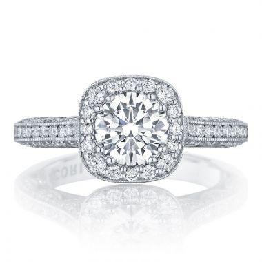 Tacori 18k White Gold Classic Crescent Straight Diamond Engagement Ring