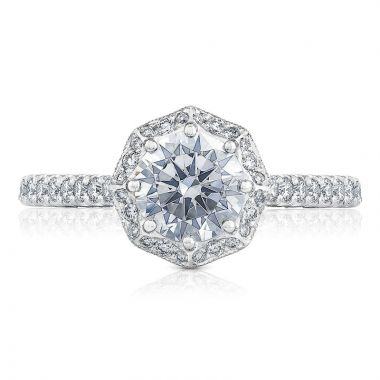 Tacori 18k White Gold Petite Crescent Halo Diamond Engagement Ring