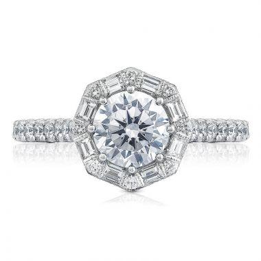 Tacori 18k White Gold Petite Crescent Halo Diamond Engagement Ring