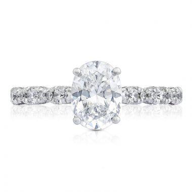 Tacori 18k White Gold Petite Crescent Straight Diamond Engagement Ring