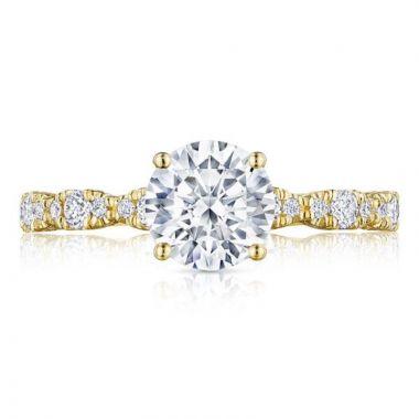 Tacori 18k Yellow Gold Petite Crescent Straight Diamond Engagement Ring