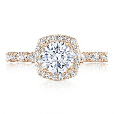 Tacori 18k Rose Gold Petite Crescent Halo Diamond Engagement Ring