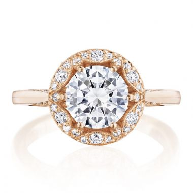Tacori 18k Rose Gold Crescent Chandelier Halo Diamond Engagement Ring