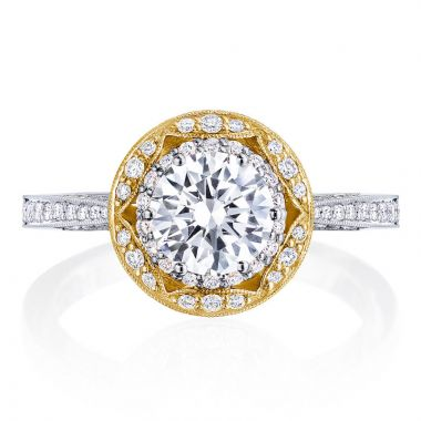 Tacori 18k Yellow Gold Crescent Chandelier Halo Diamond Engagement Ring