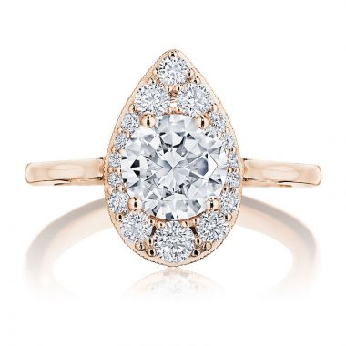 Tacori 18k Rose Gold INFLORI Halo Diamond Engagement Ring