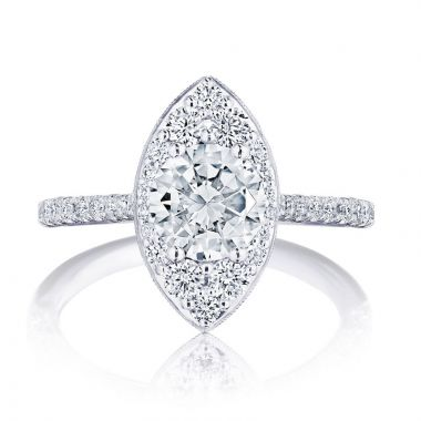 Tacori 18k White Gold INFLORI Halo Diamond Engagement Ring
