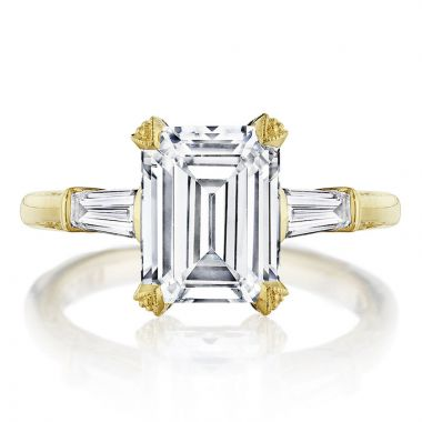 Tacori 18k Yellow Gold RoyalT 3 Stone Diamond Engagement Ring