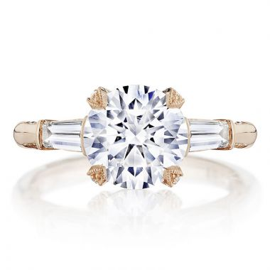 Tacori 18k Rose Gold RoyalT 3 Stone Diamond Engagement Ring