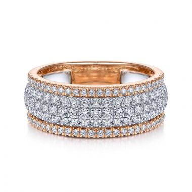 Gabriel & Co. 14k Two Tone Gold Lusso Diamond Ring