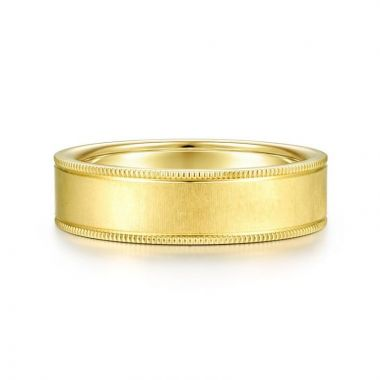Gabriel & Co. 14k Yellow Gold Exclusive Men's Wedding Band