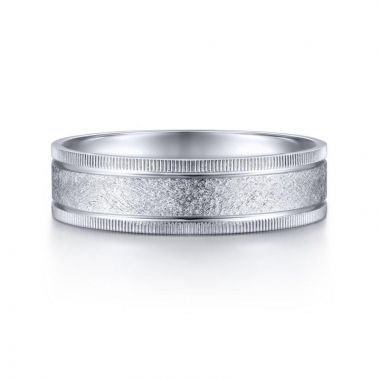 Gabriel & Co. 14k White Gold Classic Men's Wedding Band