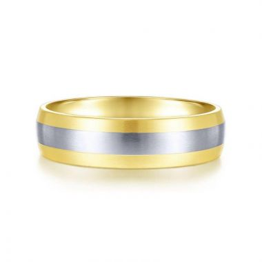 Gabriel & Co. 14k Two Tone Gold Signature Men's Wedding Band