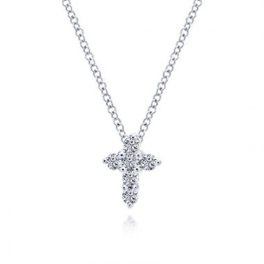 Gabriel & Co. 14k White Gold Faith Diamond Necklace