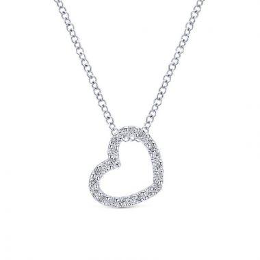 Gabriel & Co. 14k White Gold Eternal Love Diamond Heart Necklace