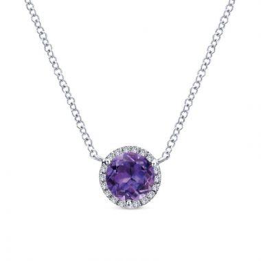 Gabriel & Co. 14k White Gold Lusso Color Gemstone & Diamond Necklace