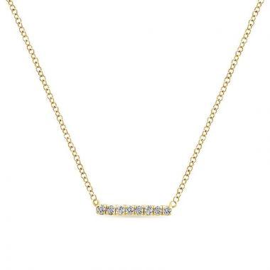 Gabriel & Co. 14k Yellow Gold Lusso Diamond Bar Necklace