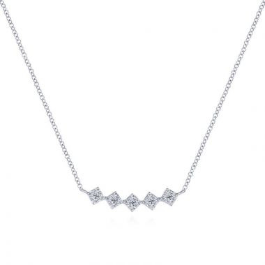 Gabriel & Co. 14k White Gold Art Moderne Diamond Bar Necklace