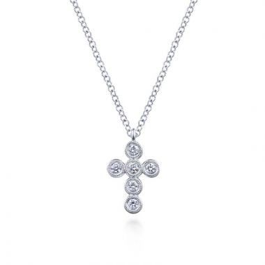 Gabriel & Co. 14k White Gold Faith Diamond Religious Cross Necklace