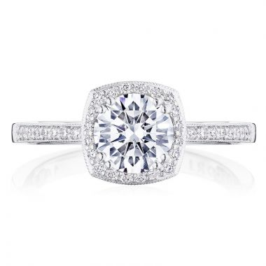 Tacori 14k White Gold Coastal Crescent Halo Diamond Engagement Ring