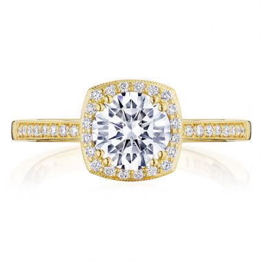 Tacori 14k Yellow Gold Coastal Crescent Halo Diamond Engagement Ring