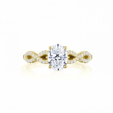 Tacori 14k Yellow Gold Coastal Crescent Criss Cross Diamond Engagement Ring