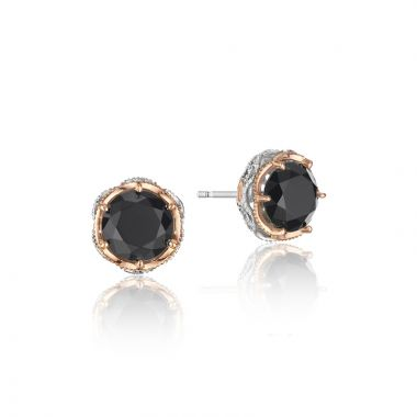 Tacori Sterling Silver and 18k Rose Gold Crescent Crown Gemstone Stud Earring
