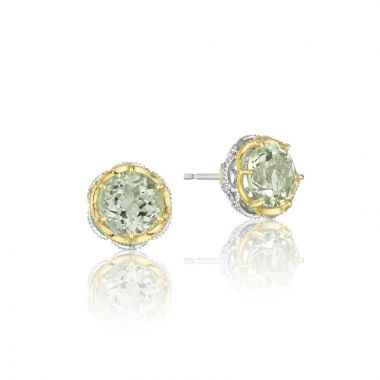 Tacori Sterling Silver and 18k Yellow Gold Crescent Crown Gemstone Stud Earring
