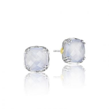 Tacori Sterling Silver Caissa Crescent Stud Gemstone Earring