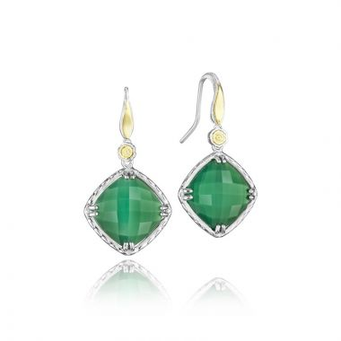Tacori Sterling Silver and 18k Yellow Gold Crescent Embrace Gemstone Drop Earring