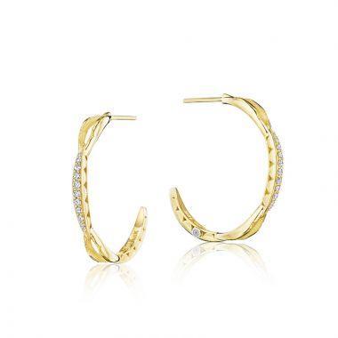 Tacori 18k Yellow Gold The Ivy Lane Diamond Hoop Earring