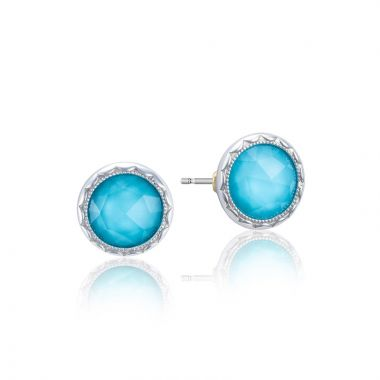 Tacori Sterling Silver Crescent Embrace Gemstone Stud Earring
