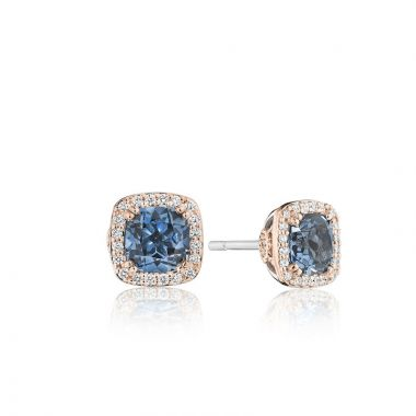 Tacori 18k Rose Gold Crescent Crown Diamond and Gemstone Stud Earring