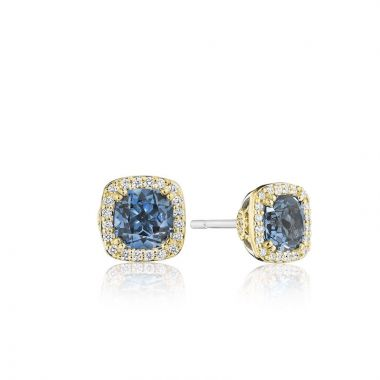 Tacori 14k Yellow Gold Crescent Crown Diamond and Gemstone Stud Earring