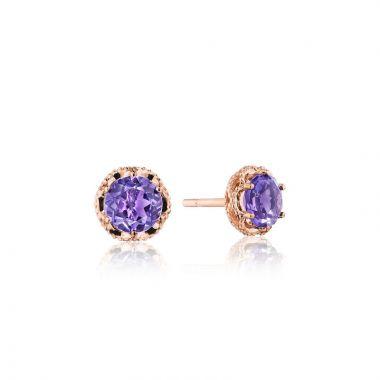 Tacori 14k Rose Gold Crescent Crown Gemstone Stud Earring