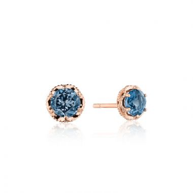 Tacori 14k Rose Gold Crescent Crown Gemstone Stud Earring