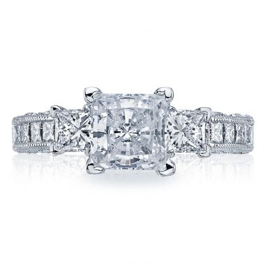 Tacori Platinum Classic Crescent Diamond 3 Stone Engagement Ring