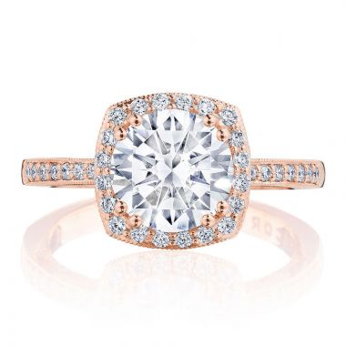 Tacori 14k Rose Gold Coastal Crescent Halo Diamond Engagement Ring